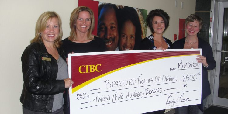Pictured left to right: Carolyn Lemire (Manager CIBC Pitt & Second Street), Traci Trottier (accepting the $2,500 cheque on behalf of BFO), Elyse Lauzon-Alguire (accepting the $2,500 cheque on behalf of BFO) and Bonnie Wilson (Financial Advisor CIBC Brookdale & CIBC Pitt & Second Street).