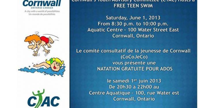 Free Teen Swim Cornwall Ontario