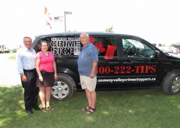 Photo from left to Right: MP Guy Lauzon, Karen Hurley Program Consultant, Frank McDonald Chair Seaway Valley Crime Stoppers