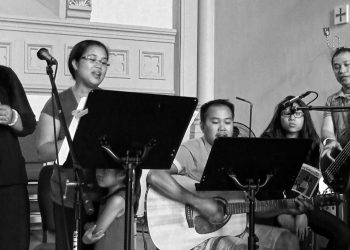 In the photo are Aramico core group members Michelle Lao, Anthony Muje, Jowen Soguilon, Michelle Allana and Mikaela Lorraine Lao-Aquino ministering at St. Columban.