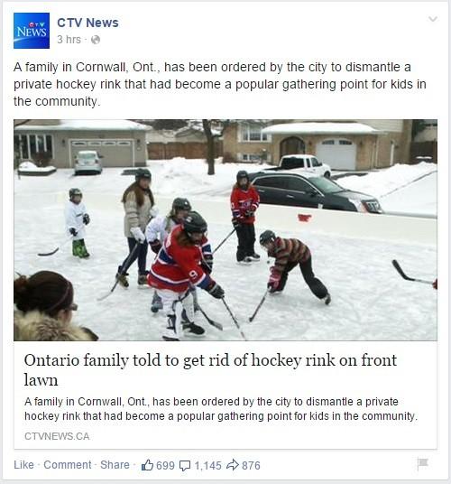 Cornwall Ontario black eye over hockey rink