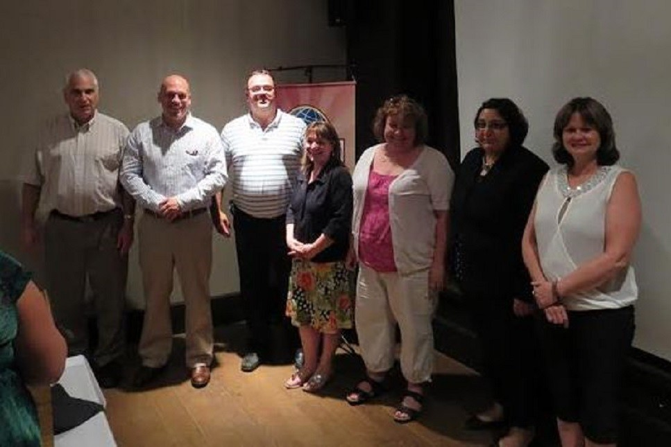 The new 2014-2015 Smart City Toastmasters Executive (l-r) Louis Paul Hebert, Sgt-at-Arms Guy St-Jean, Secretary/Treasurer Todd Bennett, VP Public Relations Shari Larkin, Web Master... Chantal Benoit Clark, VP Membership Suzanne Farag, VP Education Cindy McGillis, President