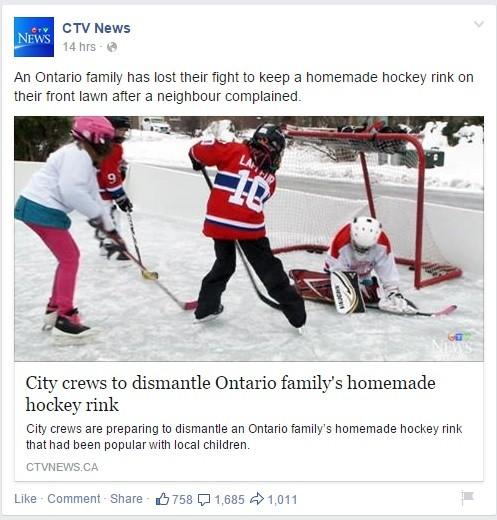 CTV Facebook Hockey Rink