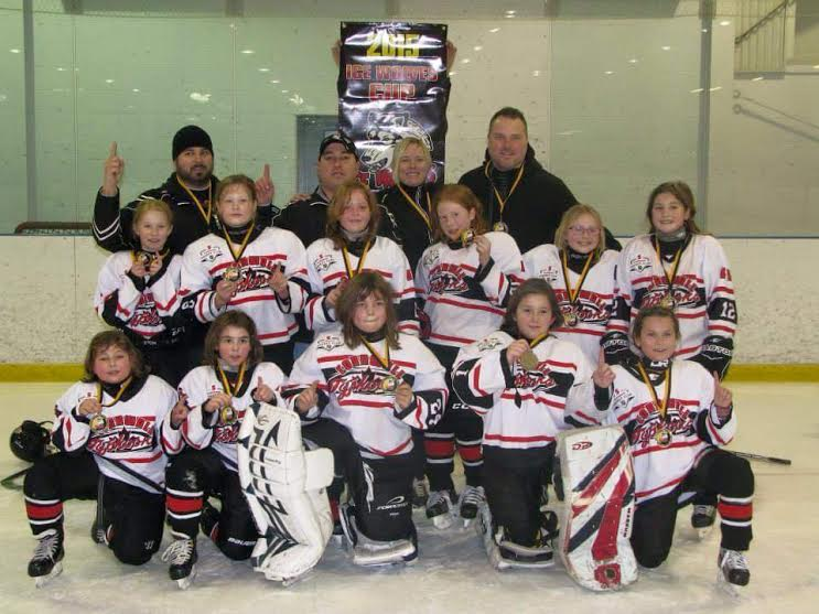 First row- Alicia Wotherspoon, Elizabeth Arbic, Emily Betournay-Kuhn, Sabrina Lalonde-Vaillancourt, Arielle Bissonnette. Second row.    - Emma Thompson, Tory Bradbeer, Ella Dickson, Isabella Vincent, Briana Vincent, Kaitlyn Sage. Third row--  Todd Arbic, Trevor Wotherspoon, Tracy Bradbeer, Brian Vincent. Submitted Photo.