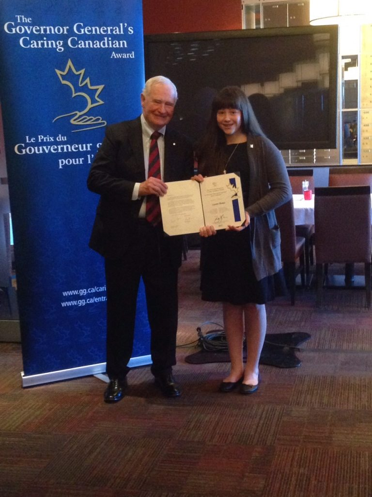 (Pictured above: CCVS student Lauren Thomas receives Governor General's Caring Canadian Award.)