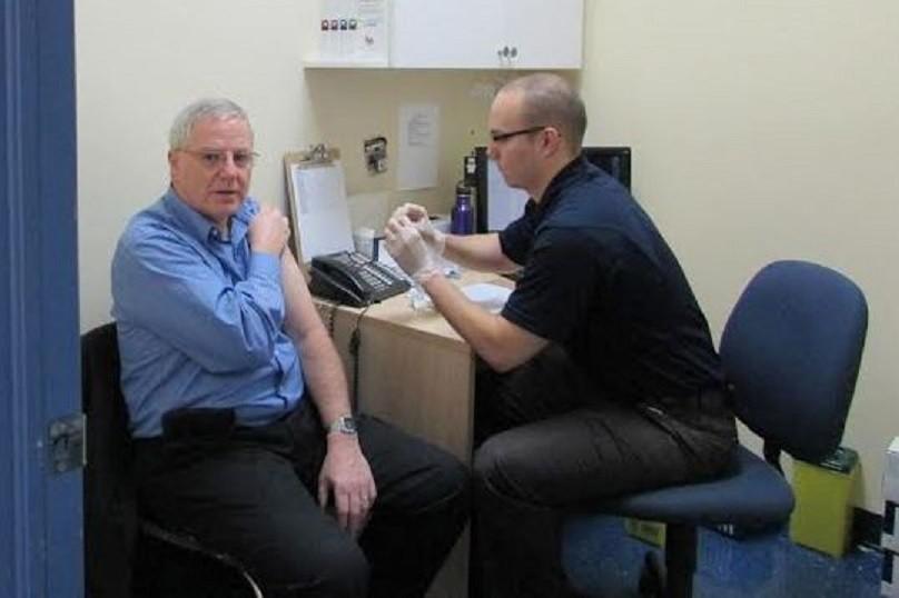 Jim McDonell flu shot