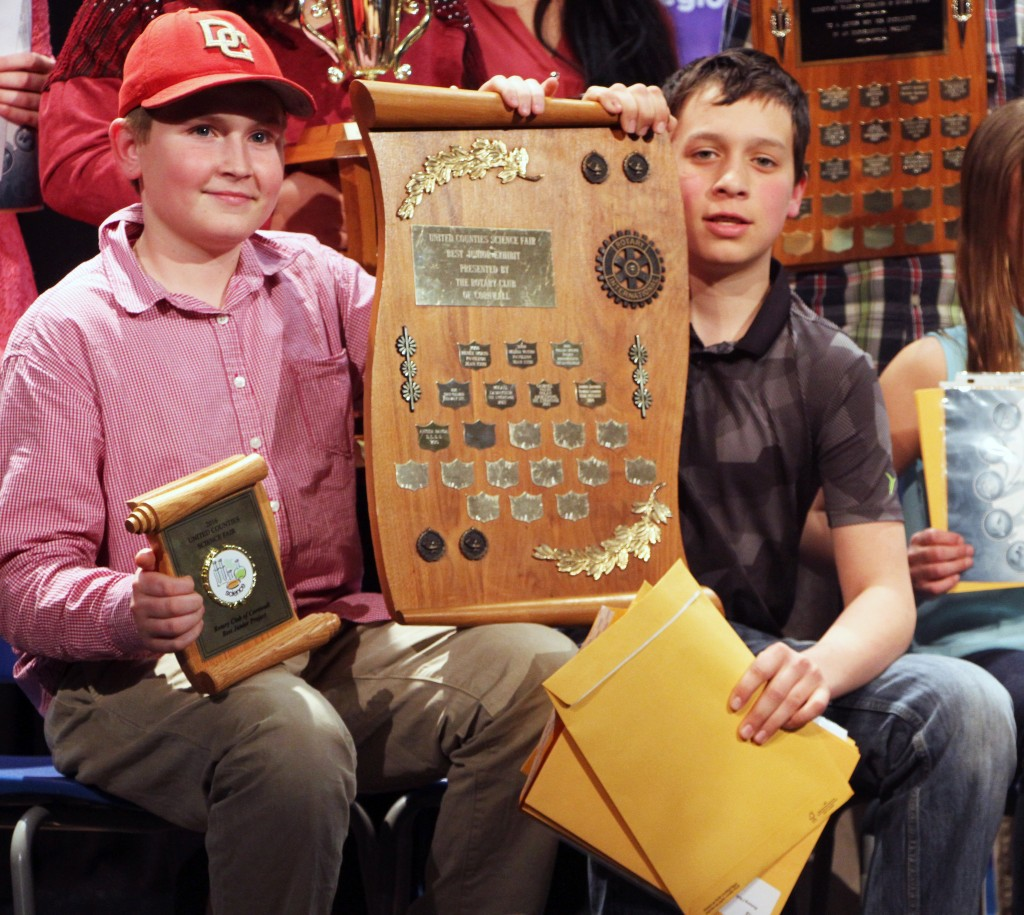 (Pictured above: Seaway District High School students Emytt Fetterly, left, and Maclean Machan pose with their prizes after winning an all-expenses paid trip to the Canada-Wide Science Fair.)