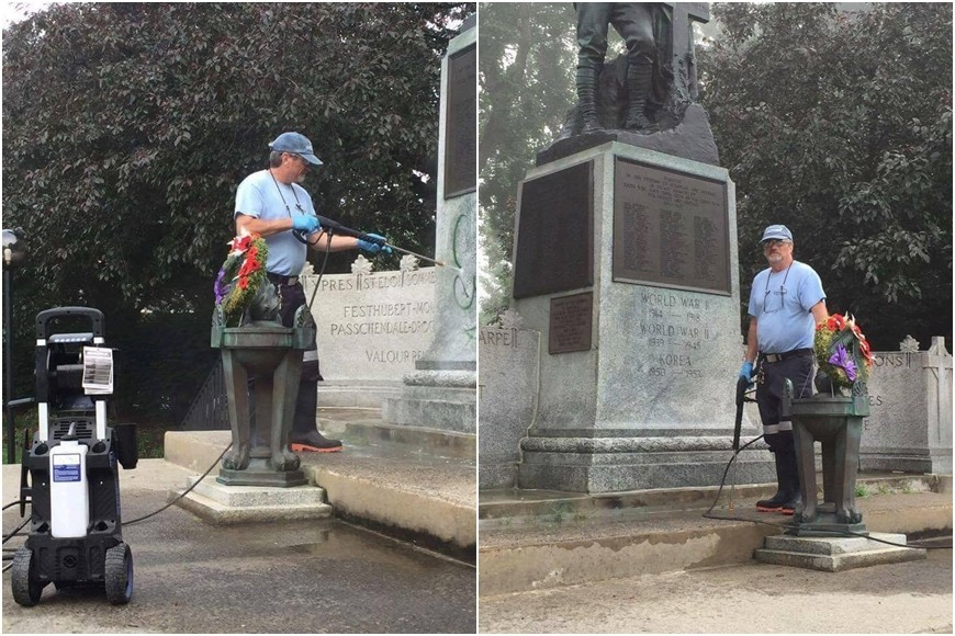 City Parks Staff clean graffiti on Cornwall Ontario cenotaph 02