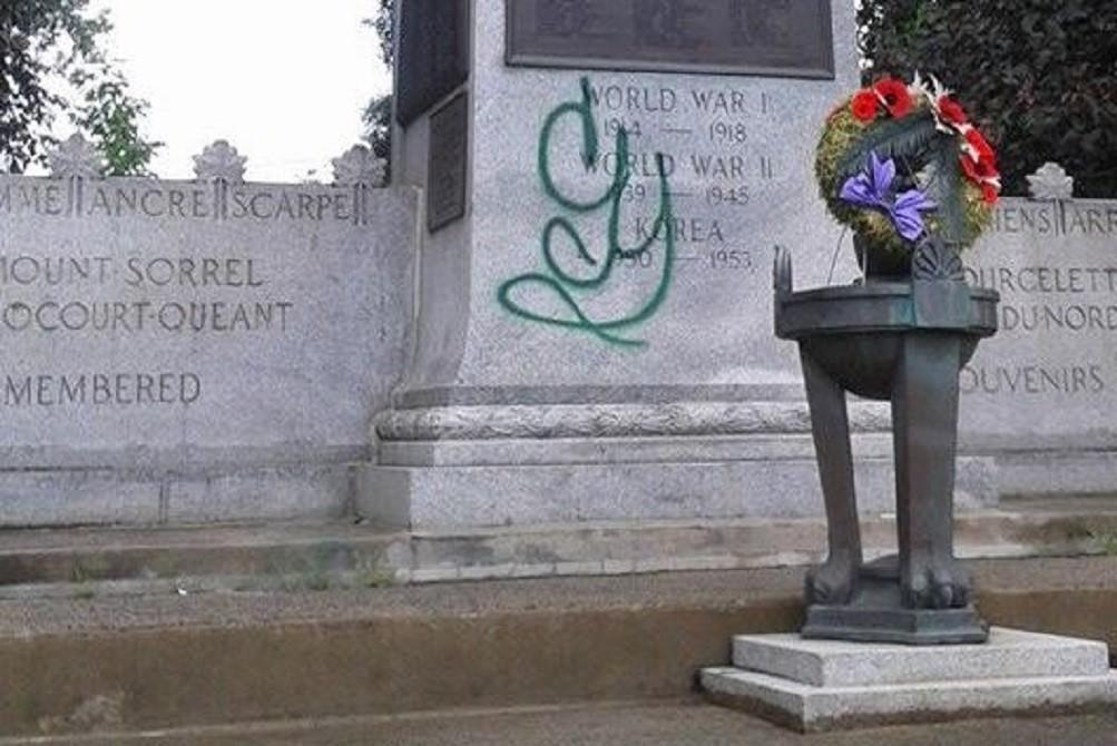Cornwall Ontario Cenotaph Vandalism