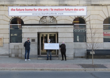 left to right Jamie Fawthrop, City of Cornwall Recreation Manager, William Kaneb donating $12,500 to Arts Centre, Katie Burke, Chairperson of Community Fundraising Committee for Arts & Culture Centre.
